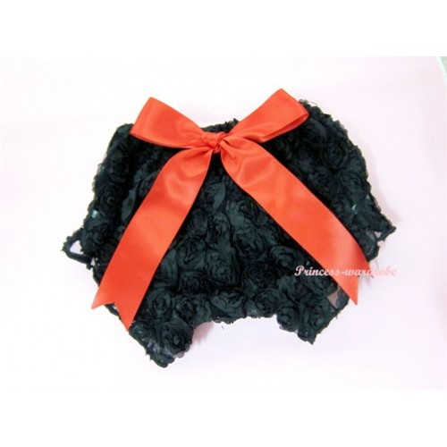 Black Romantic Rose Panties Bloomers With Red Bow BR03