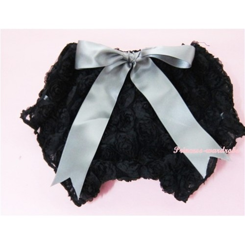 Black Romantic Rose Panties Bloomers With Grey Bow BR11