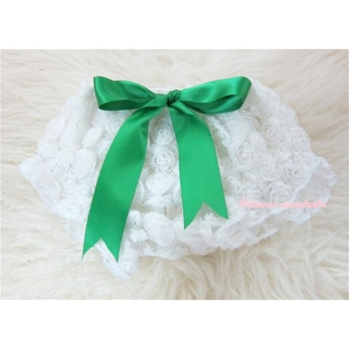 White Romantic Rose Panties Bloomers With Green Bow BR21