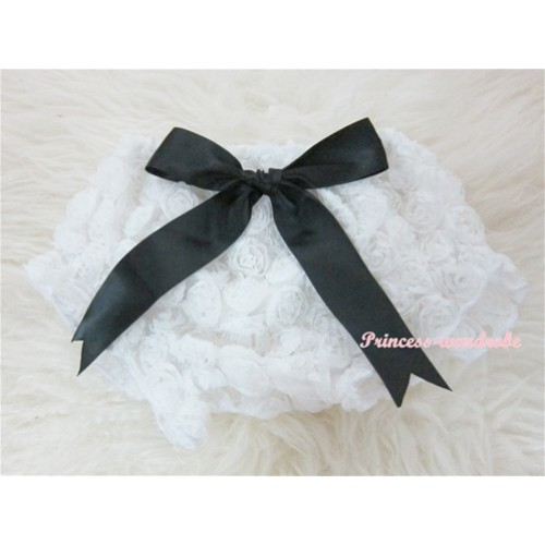White Romantic Rose Panties Bloomers With Black Bow BR23
