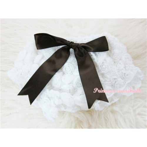 White Romantic Rose Panties Bloomers With Brown Bow BR24