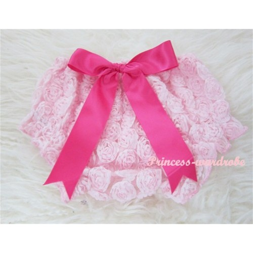 Light Pink Romantic Rose Panties Bloomers With Hot Pink Bow BR28