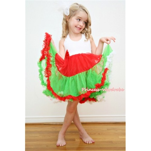 X'mas White Hot Red Dark Green ONE-PIECE Petti Dress with Bow LP09