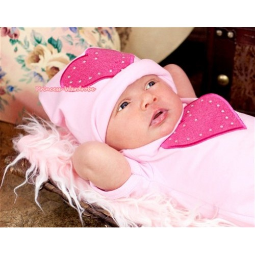 Light Pink Cotton Cap with Hot Pink Heart Print TH253