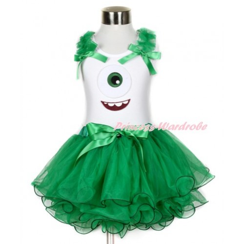White Tank Top With Kelly Green Ruffles & Kelly Green Bow & Big Eyes Monster Print With Kelly Green Bow Kelly Green Petal Pettiskirt MG788
