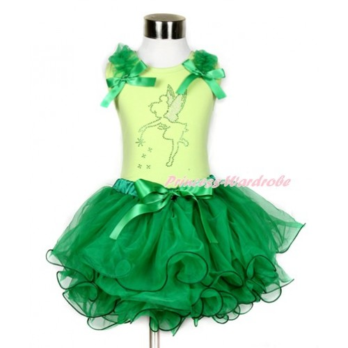 Xmas Light Green Tank Top With Kelly Green Ruffles & Kelly Green Bows & Sparkle Crystal Bling Tinker Bell Print With Kelly Green Bow Kelly Green Petal Pettiskirt MH115
