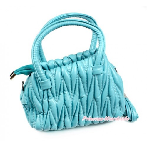 Aqua Blue Luxury Quilt Handbag Petti Bag Purse With Strap CB128