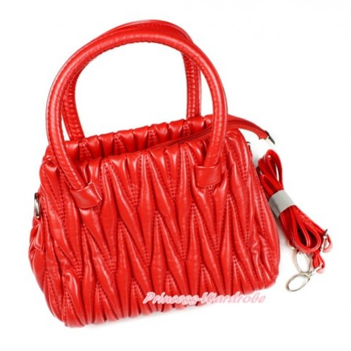 Hot Red Luxury Quilt Handbag Petti Bag Purse With Strap CB130