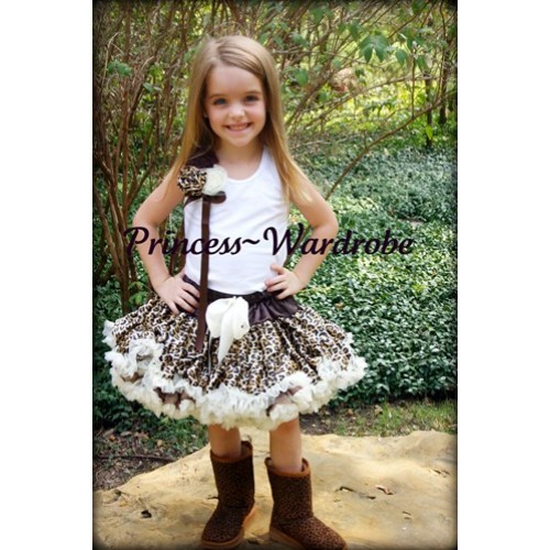 Cream White Leopard Pettiskirt with Bunch of Brown Leopard Cream White Rosettes and Brown Bow White Tank Top MW40