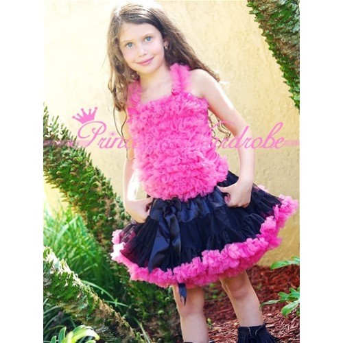 Black Hot Pink Pettiskirt Matching Hot Pink Ruffles Tank Top MR45