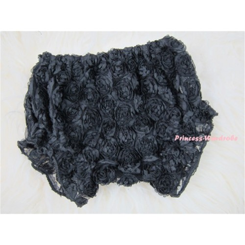 Black Romantic Rose Panties Bloomers BR01