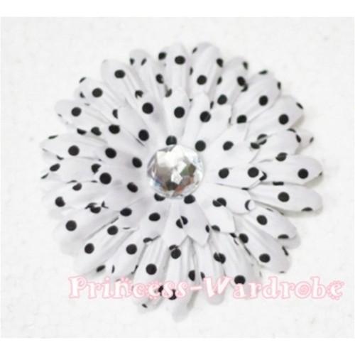 White Black Polka Dot Crystal Daisy Hair Pin H159