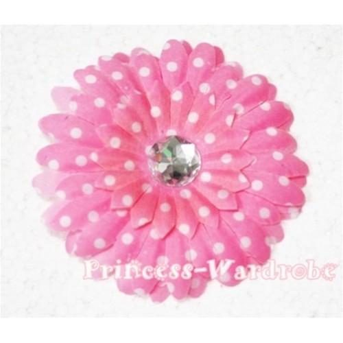 Light Pink White Polka Dot Crystal Daisy Hair Pin H160