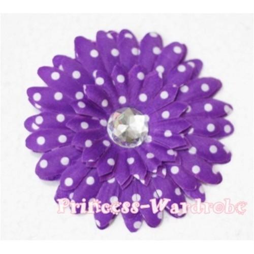 Dark Purple White Polka Dot Crystal Daisy Hair Pin H161