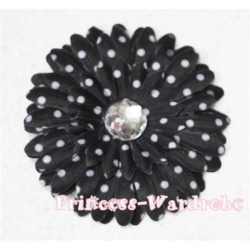 Black White Polka Dot Crystal Daisy Hair Pin H162