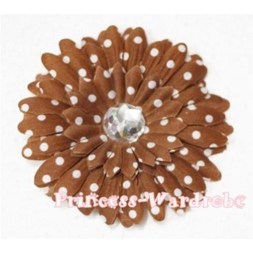 Brown White Polka Dot Crystal Daisy Hair Pin H163