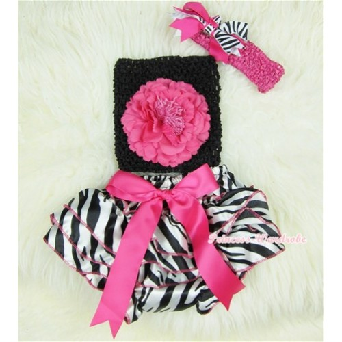 Hot Pink Bow Zebra Satin Bloomers with Hot Pink Peony Black Crochet Tube Top and Hot Pink Headband Hot Pink Zebra Screwed Ribbon Bow 3PC Set CT356