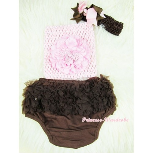 Brown Layer Panties Bloomers Brown with Light Pink Peony Light Pink Crochet Tube Top and Brown Light Pink Bow Brown Headband 3PC Set CT364