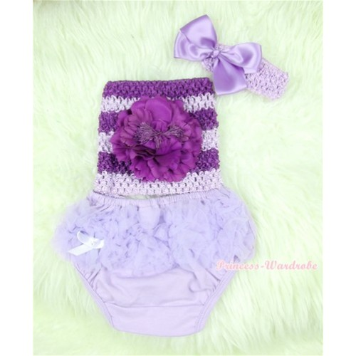 Light Purple Layer Panties Bloomers with Dark Purple Peony Dark Purple Lavender Crochet Tube Top and Lavender Bow Lavender Headband 3PC Set CT367