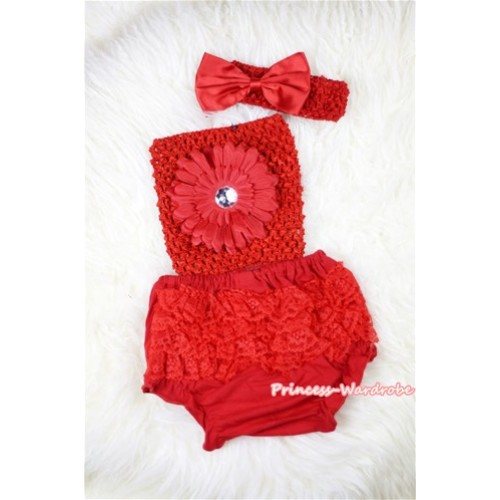 Red Layer Panties Bloomers with Red Flower Red Crochet Tube Top and Red Bow Red Headband 3PC Set CT386