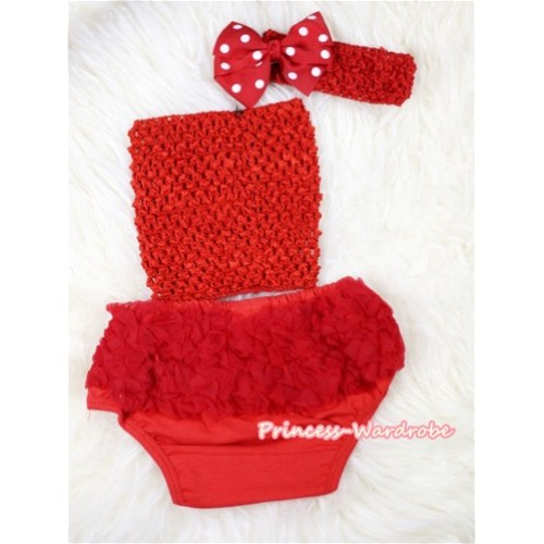 Red Layer Panties Bloomers with Red Crochet Tube Top and Minnie Dots Bow Red Headband 3PC Set CT387