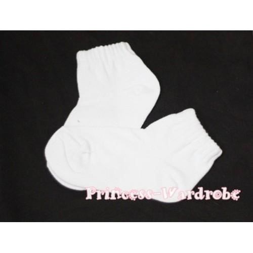 Plain Style Pure White Socks H174