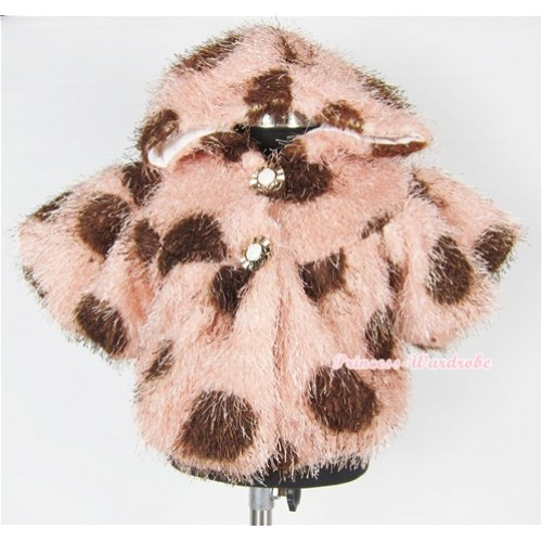 Brown Milk Cow Soft Fur Shawl Coat SH28