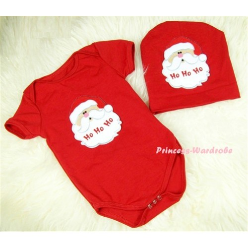 Red Baby Jumpsuit with Santa Claus Print with Cap Set JP05