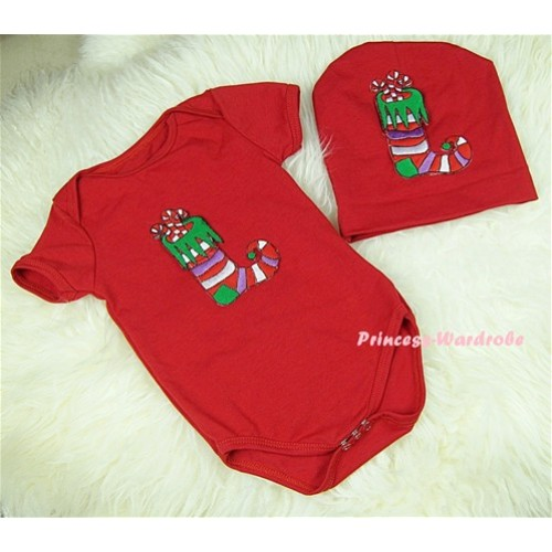 Red Baby Jumpsuit with Christmas Stocking Print with Cap Set JP08