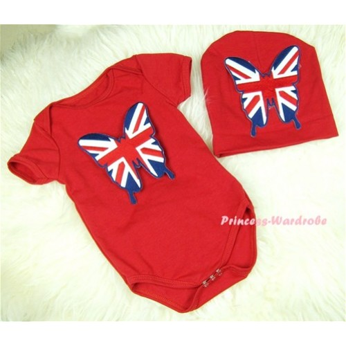 Red Baby Jumpsuit with Patriotic British Flag Butterfly Print with Cap Set JP12