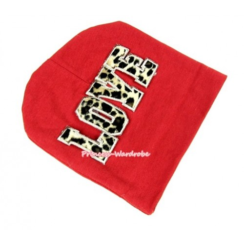 Red Cotton Cap with Leopard Love Print TH257