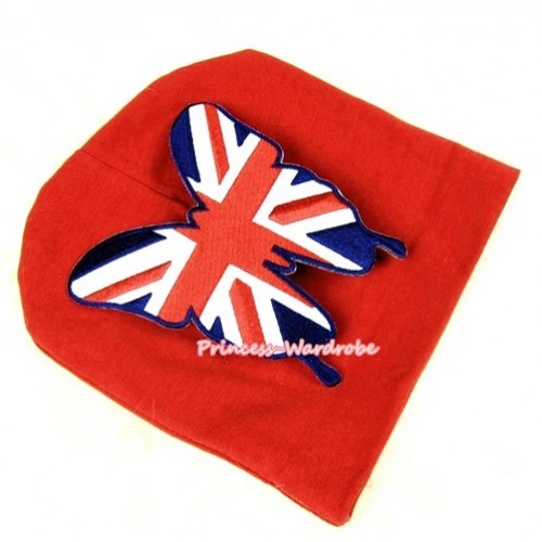 Red Cotton Cap with Patriotic British Flag Butterfly Print TH259