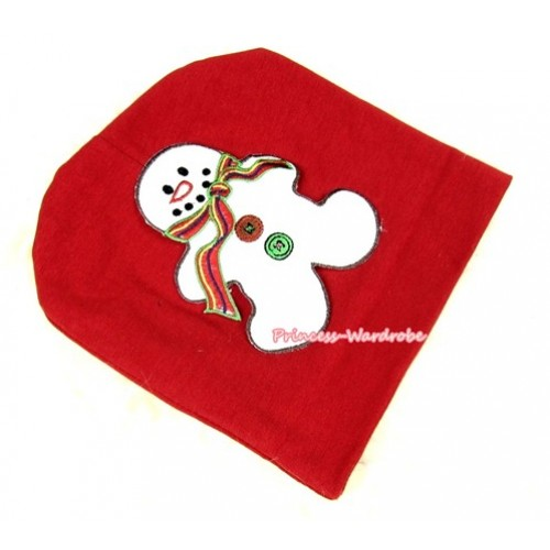 Red Cotton Cap with Christmas Gingerbread Snowman Print TH256