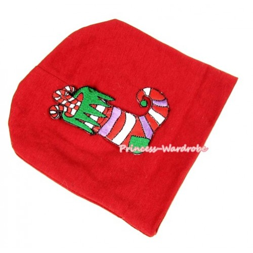 Red Cotton Cap with Christmas Stocking Print TH263
