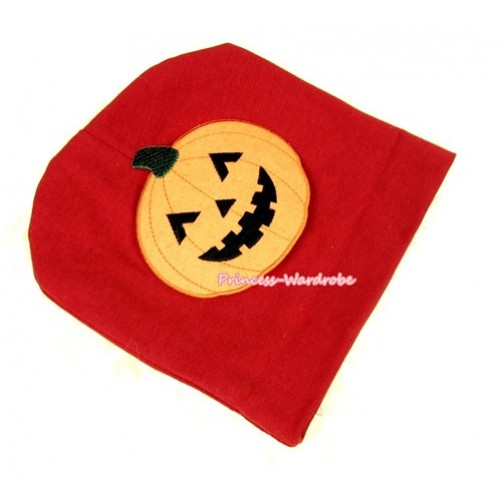 Red Cotton Cap with Pumpkin Print TH265