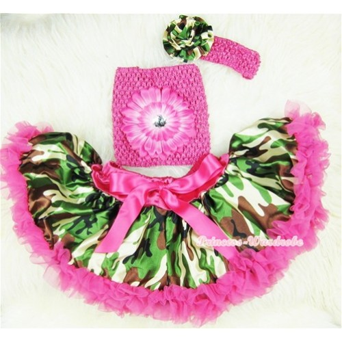 Hot Pink Camouflage Baby Pettiskirt, Hot Pink Flower Hot Pink Crochet Tube Top, Hot Pink Headband Camouflage Print Rose 3PC Set CT389