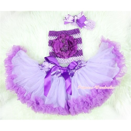 Dark Purple Lavender Baby Pettiskirt, Dark Purple Peony Dark Purple Lavender Crochet Tube Top, Lavender Headband Dark Purple Lavender Bow 3PC Set CT393