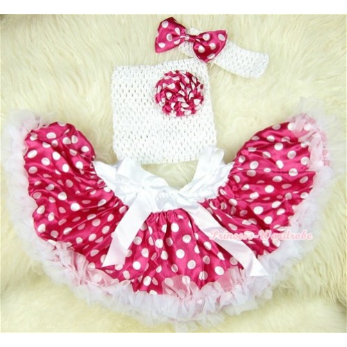 Dark Hot Pink White Polka Dots Baby Pettiskirt,Dark Hot Pink White Dots Rose White Crochet Tube Top,White Headband Dark Hot Pink White Polka Dots Bow 3PC Set CT402