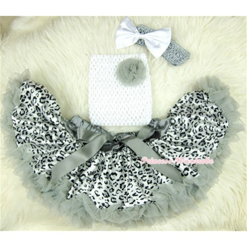 Grey Leopard Baby Pettiskirt,Grey Rose White Crochet Tube Top, Grey Headband White Bow 3PC Set CT405