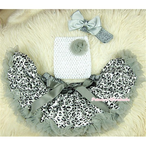 Grey Leopard Baby Pettiskirt,Grey Rose White Crochet Tube Top, Grey Headband Grey Bow 3PC Set CT406