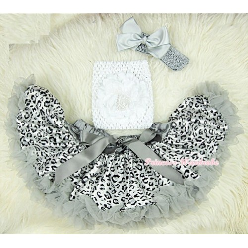Grey Leopard Baby Pettiskirt,White Rose White Crochet Tube Top, Grey Headband Grey Bow 3PC Set CT407