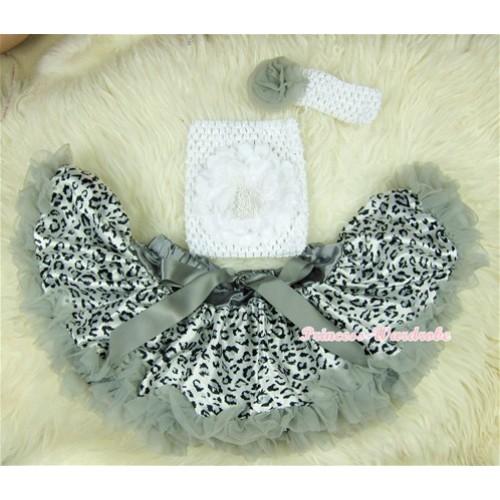 Grey Leopard Baby Pettiskirt,White Rose White Crochet Tube Top,White Headband Grey Rose 3PC Set CT408