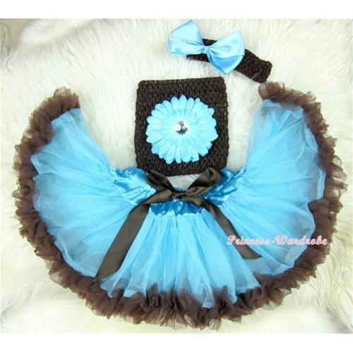 Light Blue Brown Mixed Baby Pettiskirt,Light Blue Flower Brown Crochet Tube Top, Brown Headband Light Blue Bow 3PC Set CT409