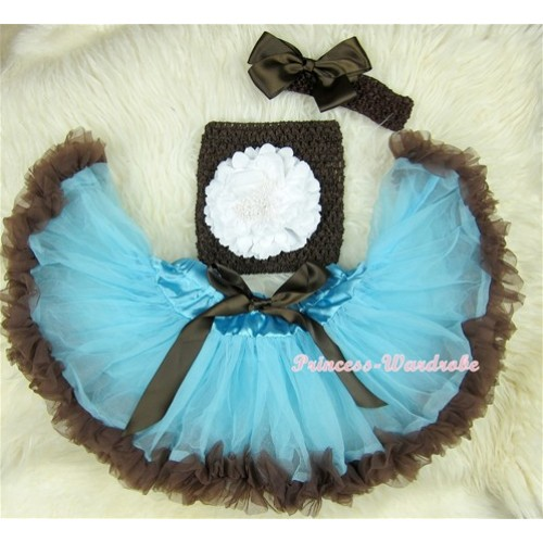 Light Blue Brown Mixed Baby Pettiskirt,White Peony Brown Crochet Tube Top, Brown Headband Brown Bow 3PC Set CT410