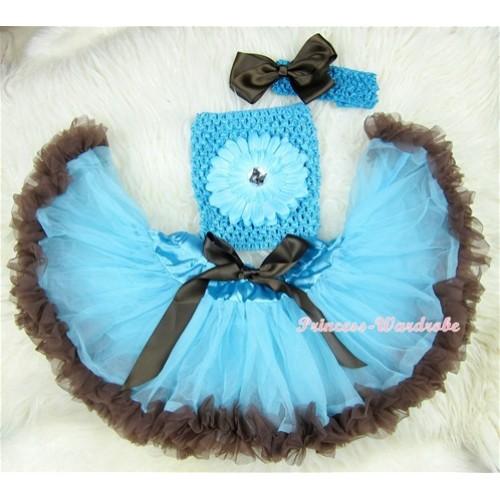 Light Blue Brown Mixed Baby Pettiskirt,Light Blue Flower Light Blue Crochet Tube Top,Light Blue Headband Brown Bow 3PC Set CT411