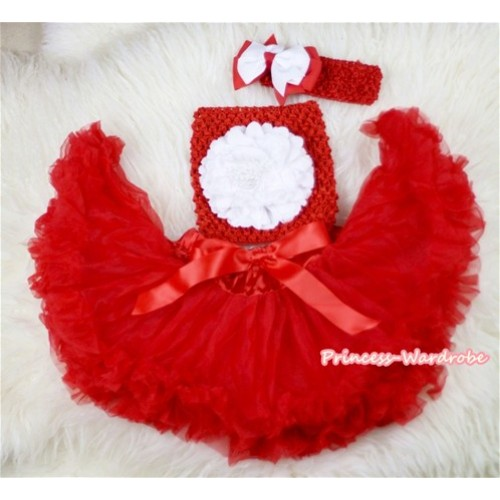 Red Baby Pettiskirt,White Peony Red Crochet Tube Top,Red Headband Red White Bow 3PC Set CT435
