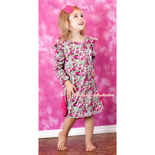 Hot Pink Floral Fusion Long Sleeve Party Dress PD019