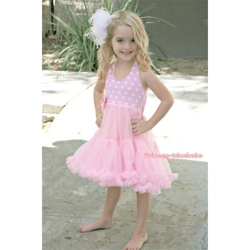 Light Pink White Polka Dots with ONE-PIECE Petti Dress with Bow LP08