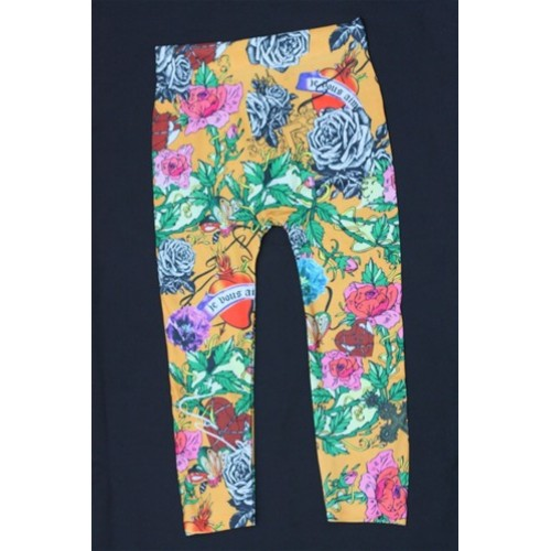 Orange Heart Pattern leggings Pants girl Kids 8-12Y#10