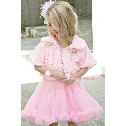Light Pink Soft Fur with Bow Shawl Coat & Light Pink Pettiskirt SH102